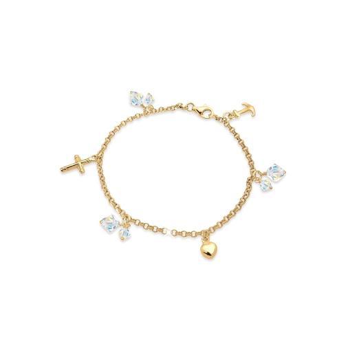 Armband Kreuz Herz Anker Kristalle 925 Silber Elli Gold
