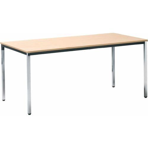 Neutrale Produktlinie Tisch 800 x 800 mm, chrom / Buche