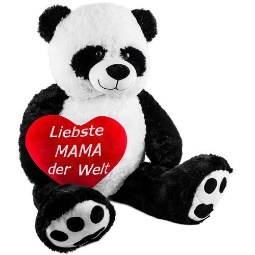 Brubaker XXL Panda 100cm mit einem Liebste Mama der Welt Herz Stofftier