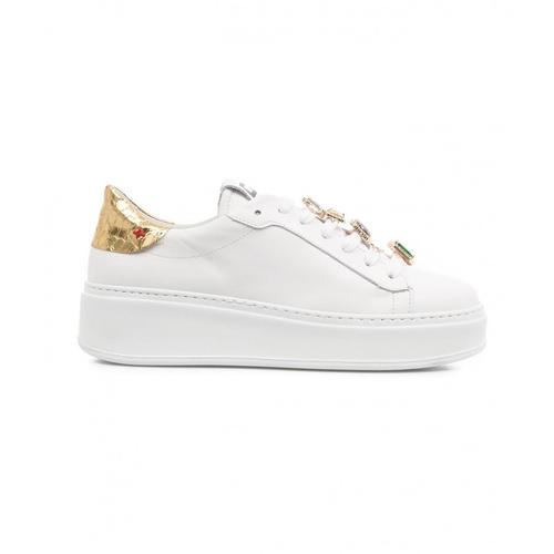 Gio+ Damen Sneaker mit Schmucksteine Weiß