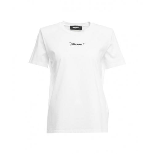 Dsquared2 Damen T-Shirt mit Schulterpolster Weiß