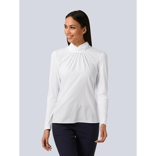 Alba Moda, Shirt partielle mit Strass verziert, weiß