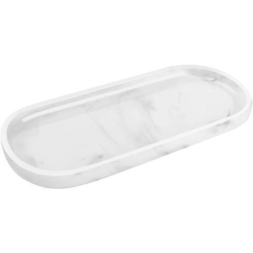 Oval Tablett, Harz Schale Deko Platte für Shampoo, Pflanze Marmor Kleine Pflanze Tinte Weiß