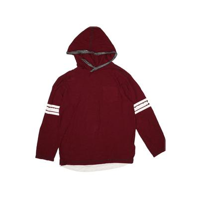Distortion Custom Rags Long Sleeve T-Shirt: Burgundy Solid Tops - Size Large