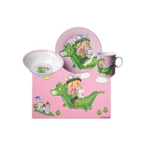 DRACHE Kindergeschirr Set pink 4-teilig Kindergeschirrsets bunt