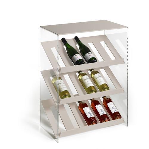 Hochwertiges Acryl-Glas Designer Weinregal Flaschenregal Weinschrank, beige / klar, BB 60 x T 35 x H 80 cm, Acryl-Stärke 8 mm