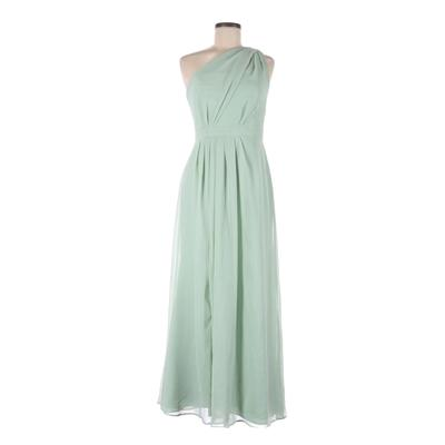 David's Bridal Cocktail Dress - Bridesmaid: Green Solid Dresses - Used - Size 6