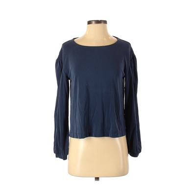 Madewell Long Sleeve Top Blue Solid Scoop Neck Tops - Used - Size 2X-Small