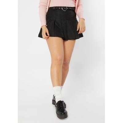 Rue21 Womens Black Heart Buckle Belt Pleated Skirt - Size S