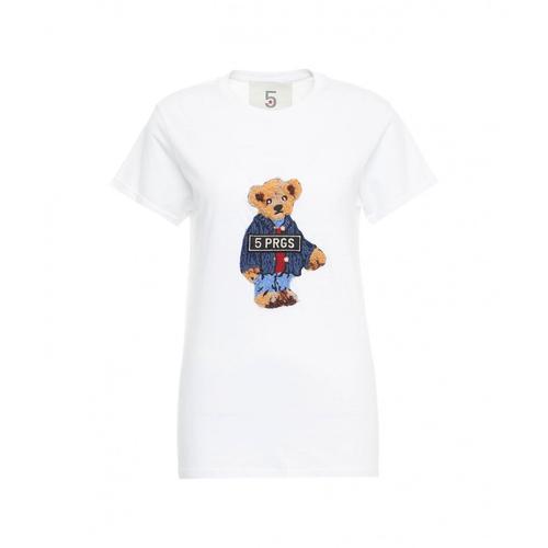 5 Progress Damen T-Shirt Bear Tie Weiß