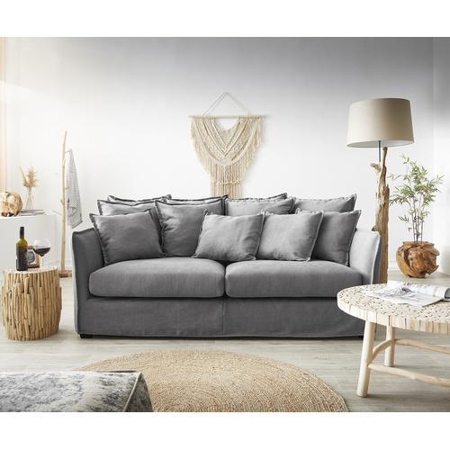 DELIFE Hussensofa Ayla 208x139 cm Grau mit Kissen Couch, Big Sofas