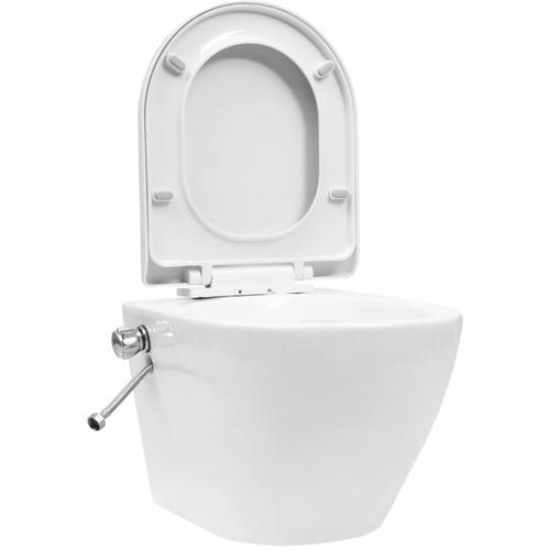 Vidaxl - Wand-WC ohne Spülrand mit Bidet-Funktion Keramik Weiß