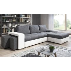 Canapé d angle convertible lit avec coffre de rangement + 2 poufs en tissu : Blanc-gris