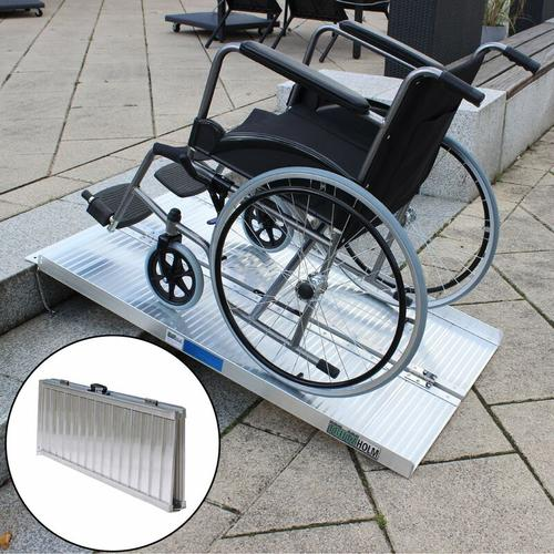 Rollstuhlrampe 122 cm klappbar leicht Alu Auffahrrampe Schwellenrampe