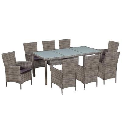 With Cushions Poly Rattan Gra, Outdoor 9 Piece Dining Set