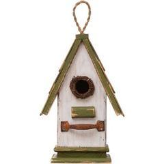 Glitzhome Wood Roof Garden Birdhouse, Green