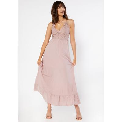 Rue21 Womens Light Purple Crochet Ruffle Maxi Dress - Size S
