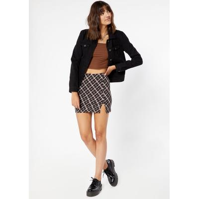 Rue21 Womens Brown Plaid Side Slit Mini Skirt - Size M