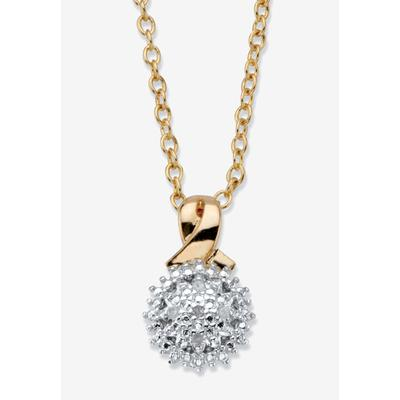 """Plus Size Women's Gold-Plated Diamond Accent Cluster Pendant with 18"""" Chain by PalmBeach Jewelry in Gold"""