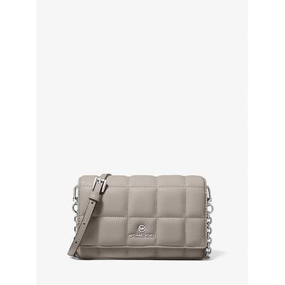 Michael Kors Small Quilted Leather Smartphone Crossbody Bag Grey One Size