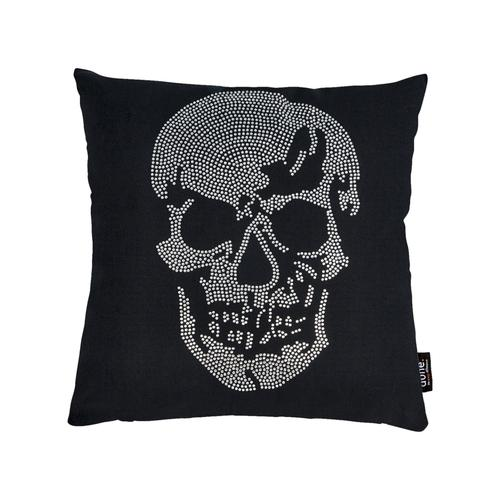 Done »Skull« Kissen 45x45 cm / Strasssteine silber