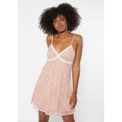 Rue21 Womens Dusty Pink Bandana Print Lace Trim Bust Mini Slip Dress - Size Xs