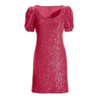 Boston Proper - Puff-Sleeve Sequin Dress - Pink - 04