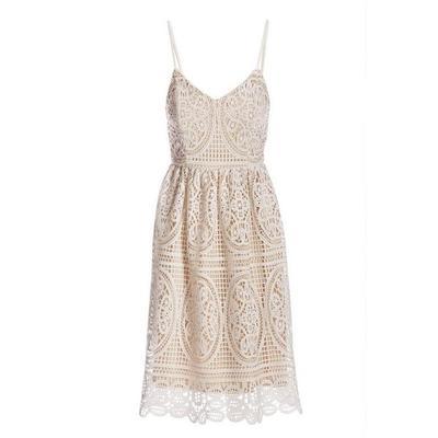 Boston Proper - Lace Fit-And-Flare Dress - White Multi - 14