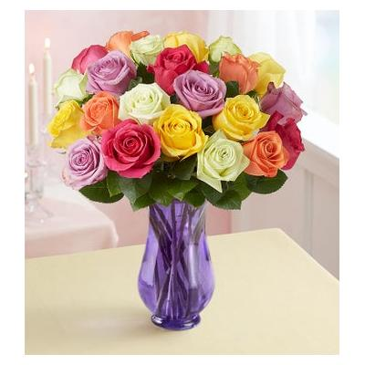 Two Dozen Assorted Roses with Purple Vase by 1-800 Flowers