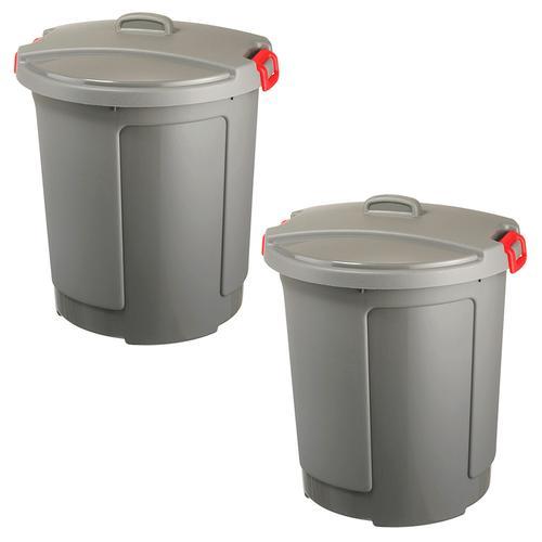 2 Kunststofftonnen/Rundtonnen mit Deckel, 75 Liter, frostsicher bis -20°C, grau