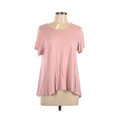Zara W&B Collection Short Sleeve Top Pink Solid Scoop Neck Tops - Used - Size Large
