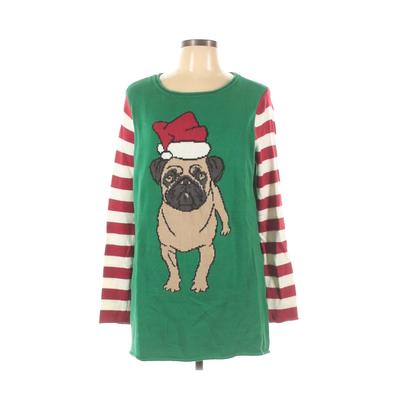 Ugly Christmas Sweater Pullover Sweater: Green Stripes Tops - Size Large