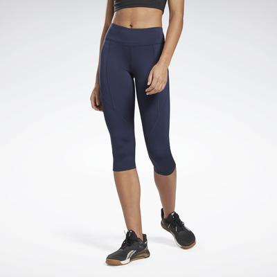 Reebok Women's Workout Ready Pant Program Capri Tights in Vector Navy Size S - Training Clothing