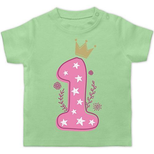 Baby Geburtstag Geburtstagsgeschenk 1. Geburtstag Mädchen Krone Sterne T-Shirts Kinder mint Baby