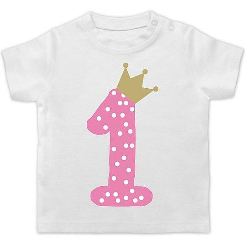 Baby Geburtstag Geburtstagsgeschenk 1. Geburtstag Krone Mädchen Erster T-Shirts Kinder weiß Baby