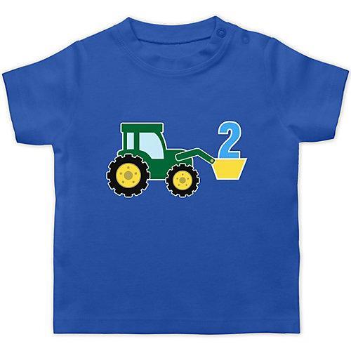 Baby Geburtstag Geburtstagsgeschenk 2. Geburtstag Traktor T-Shirts Kinder blau Kleinkinder