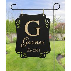 Personalized Planet Garden Flags - Black & Gold Personalized Hanging Garden Sign