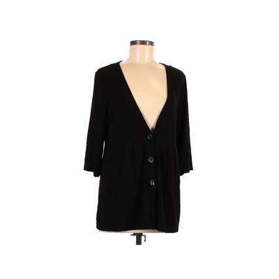 J.Jill Long Sleeve Top Black Solid V-Neck Tops - Used - Size Medium Petite