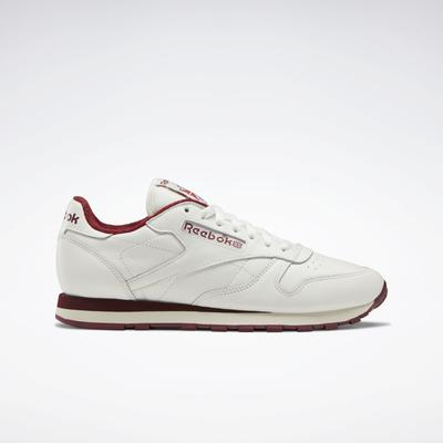 Reebok Men's Classic Leather in Chalk/Classic Burgundy/Vector Red Size 13 - Lifestyle Shoes