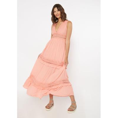 Rue21 Womens Pink Crochet Inset Deep V Neck Maxi Dress - Size Xs