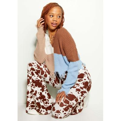 Rue21 Womens Brown Cow Print Super Soft Flare Pants - Size L