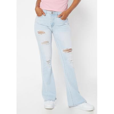 Rue21 Womens Light Wash High Rise Ripped Flare Jeans - Size 13
