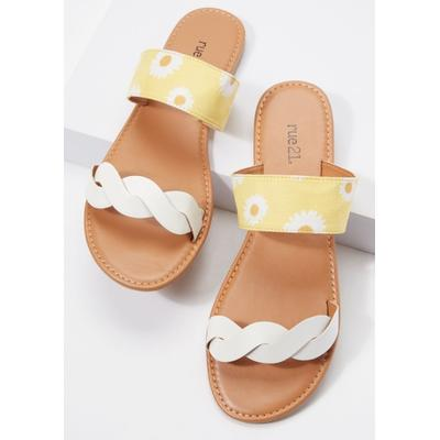 Rue21 Womens Daisy Print Braided Double Band Sandals - Size 8