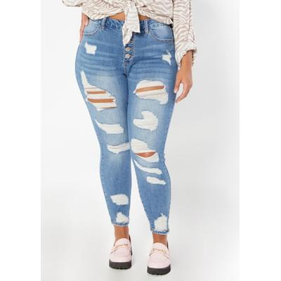Rue21 Womens Plus Size Medium Wash Curvy High Rise Ankle Jeggings - Size 20
