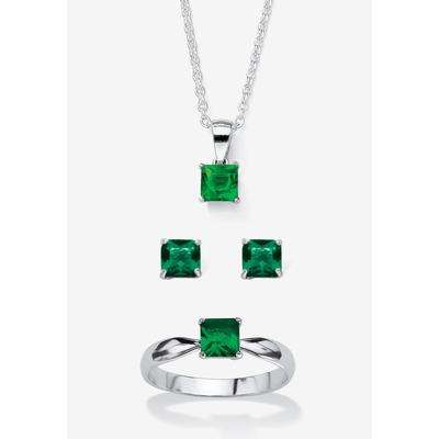 """Plus Size Women's Sterling Silver Simulated Birthstone Ring Earring and Necklace Set 18"""" by PalmBeach Jewelry in May (Size 7)"""