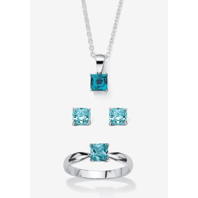 """Plus Size Women's Sterling Silver Simulated Birthstone Ring Earring and Necklace Set 18"""" by PalmBeach Jewelry in December (Size 6)"""