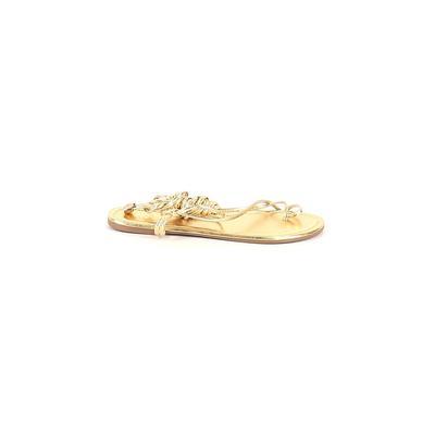 Lulu's Flip Flops: Gold Solid Shoes - Size 8 1/2
