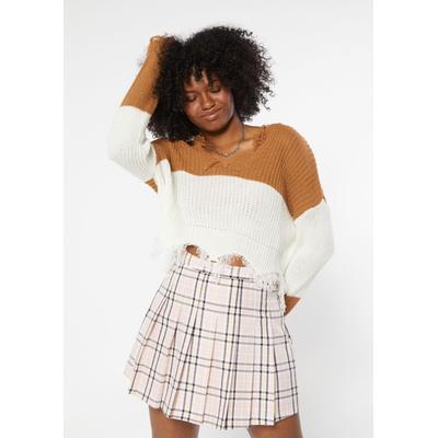 Rue21 Womens Camel Colorblock Destructed Hem Crop Sweater - Size Xl