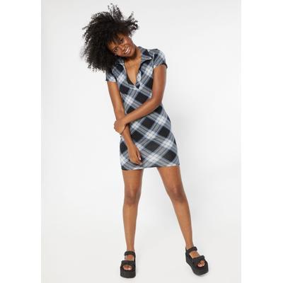 Rue21 Womens Black Plaid Print V Neck Polo Dress - Size Xl