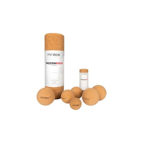Kintex Faszien Set: 2x Korkball (5 + 8 cm) + 2x Peanut (6 5 x 13 cm + 8 x 16 cm) + 2x Faszienrolle (33 cm + 15 cm)